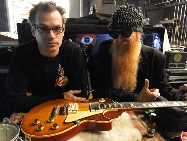 Guitar tech Elwood Francis and ZZ Top's Billy Gibbons with a John Bolin-built Pearly Gates replica