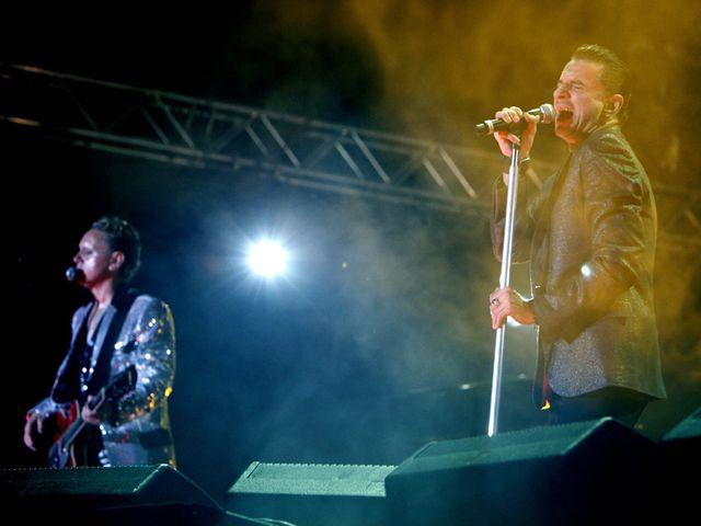 Martin Gore (left) and Dave Gahan on stage in 2009.