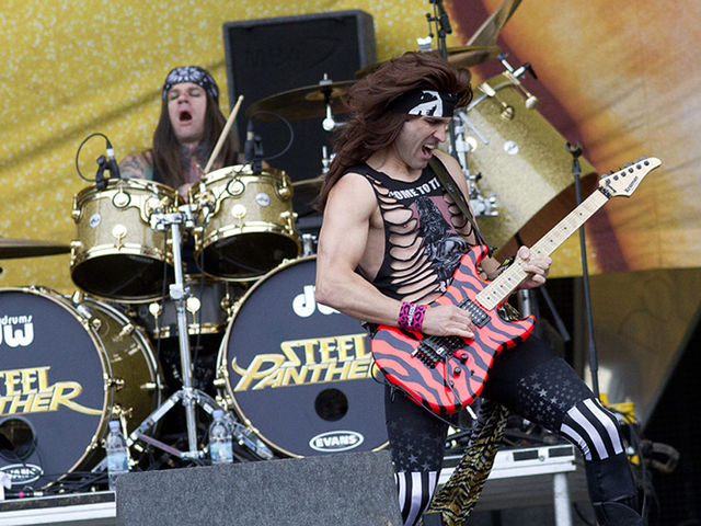 Steel Panther drummer Stix Zadinia and guitarist Satchel