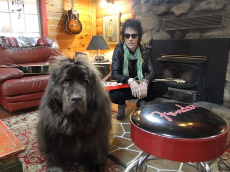 Earl Slick and his Newfoundland named Banana, at home in Pine Bush, New York