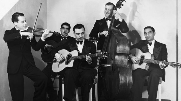 The Quintet de Hot Club de France, 1934, with Stephan Grappelli (left) and Django Reinhardt (center).