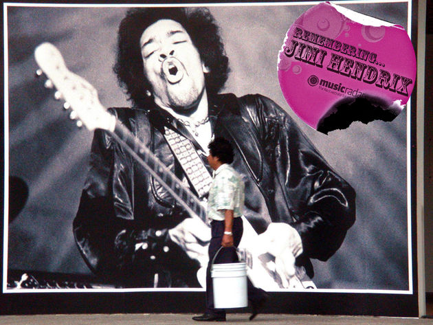 A poster of '60s rock icon Jimi Hendrix in the National Auditorium of Mexico City