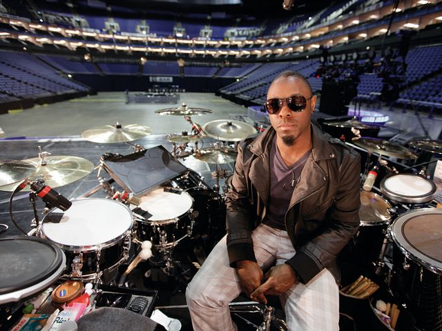 Chris Johnson's Rihanna drum setup in pictures