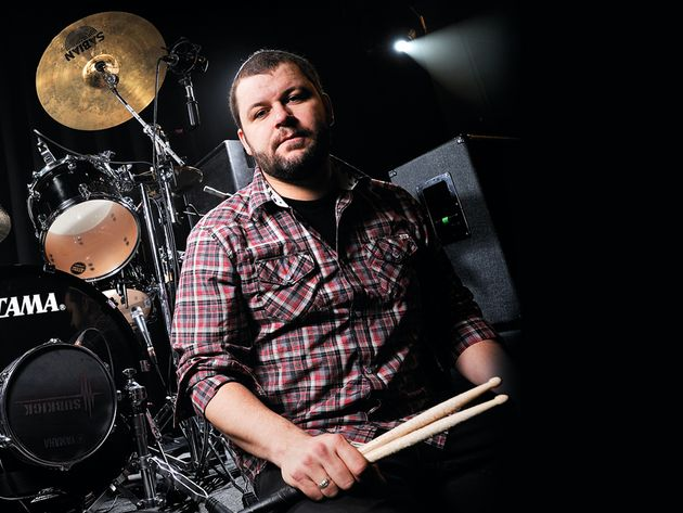 Brandon Barnes's Rise Against drum setup in pictures