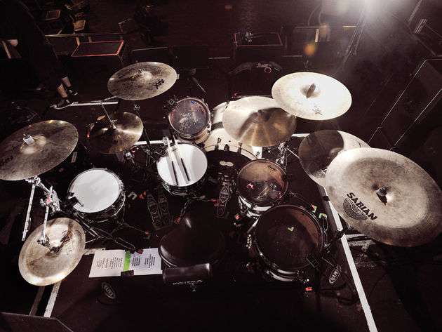 Drums: Tama Starclassic Bubinga: 22x18-inch bass drum; 12-inch tom, 14 & 16-inch floor toms; 14x6½-inch Charlie Benante Signature snare; 10x5-inch Tama Artwood 'Popcorn' snare  Cymbals: Sabian: 14-inxh AAX Metal hi-hat (top); 14-inch HHX Power hats (bottom); 18-inch HHX Legacy crash; 19-inch AAXplosion crash; 21-inch HHX Groove ride; 20-inch HHX Studio crash; 20-inch Vault crash 20-inch AA China  Plus: Tama hardware & Iron Cobra pedal; Vater 5B sticks; Roland TD-12 brain & triggers; Ultimate Ears in-ear monitors