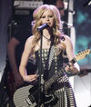 Ms Lavigne plays a Fender onstage