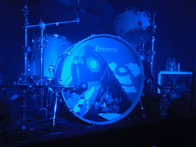 Alex Van Halen's Ludwig drum kit, with a graphic of the new VH album cover