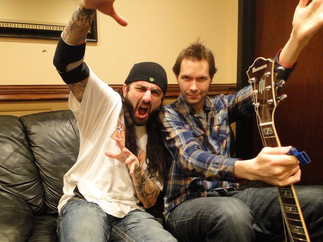 Two of us: Mike Portnoy and Paul Gilbert backstage at BB Kings