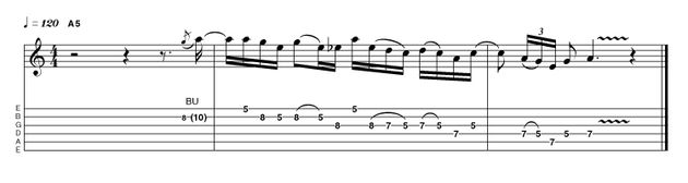 Let's begin with a Brian May-style lick. It's got an interesting melodic shape, a great rhythmic structure, a marvellous sense of flow and perfect grace and composure. What more does a great rock lick need?