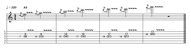 Unison bends sound great. Fact! None more so than when Jimi Hendrix employed them. Here we're spelling out the harmonically sophisticated Am11th arpeggio (A, C, E, G, D). Who said rockers couldn't mix it with the intellectuals?
