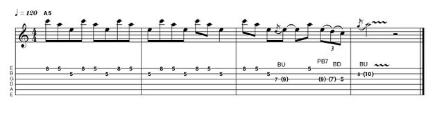 We shall ease you into our triadic based section with a simple three-against-four idea. Again, intonation (tuning between the notes) is a huge issue, so make sure you're perfectly in tune.