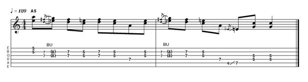 Down in Louisiana, a boy named Johnny (okay, only my mother calls me Johnny and it was really Liverpool) came up with this double-stop lick. The thickening effect of playing two notes at once is remarkably effective when projection is an issue.