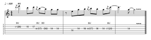 Each position presents new possibilities, with the new fingering placing different notes under string-bending fingers. Here the minor 3rd bend between E and G is easily attainable as it is found under the third finger. To achieve the same sonic result in Area 1 you would either have to use your first finger (not the most desirable digit!) or shift back a position, which effectively puts you in area 5 anyway.