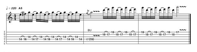 The first bar of this example features a triplet hammer-on pattern that toggles between the use of the major 6th and the flattened 7th intervals, both present in the harmonically appropriate Dorian mode (R 2 b3 4 5 6 b7). Paul Kossoff was particularly fond of using this kind of idea. He also had one of the best vibratos in rock (ask Joe Bonamassa), so we'd urge you to check him out!