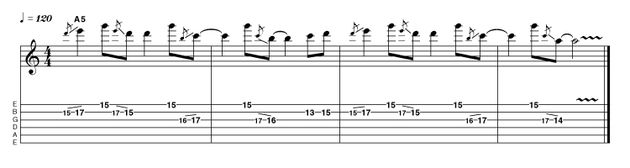 Here's a pedal-tone idea that is melodically simple yet retains interest via the use of some crafty slides. It's also got a rather interesting rhythmic shape. Why not keep the rhythm and change the notes to come up with an idea of your own?