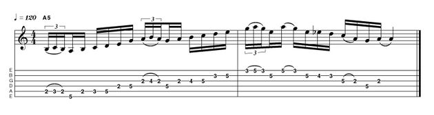 Our penultimate example comes to you courtesy of Journey's Neal Schon, and features the popular add-on to the minor pentatonic of the natural 2nd degree, creating a scale with the logical title of minor pentatonic add 2 (R 2 3 4 5 b7). In the second bar we also see a brief appearance of the flattened 5th, giving us effectively the blues scale (R b3 4 b5 5 b7), another hugely used scale in all rock styles.