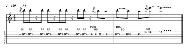 This bending idea demonstrates that the rhythm of a phrase is as important as the note selection. Rock requires conviction, so be bold and play with authority.