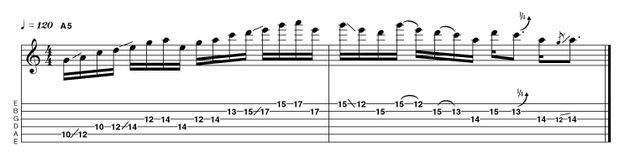 Again, we're making great use of all the tone gaps present within the pentatonic scale, although in the second bar we're upping the ante with a minor 3rd slide. Streams of 16th notes can be exciting to listen to, but your timing precision is crucial. Don't be afraid to start slow (and I mean SLOW) and build up speed gradually when everything is under complete control.