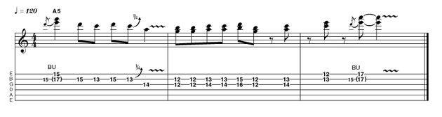 We begin this lick with a crunchy oblique bend - one note remains stationary whilst another moves. In bars 2 and 3 we're mixing things up, with some diatonic thirds and chord tones, ending on yet another oblique double-stop bend in a higher register.