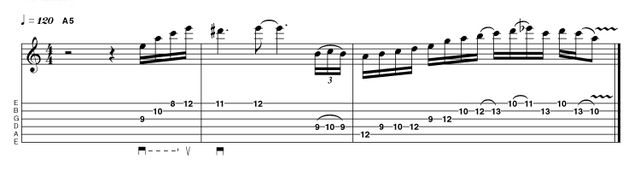 Ritchie Blackmore inspired this arpeggio/scale combination phrase, utilising the minor triad, the flattened 5th interval, and the minor pentatonic add 2 scale (A B C D E G), with elements of blues phrasing in the final bar.