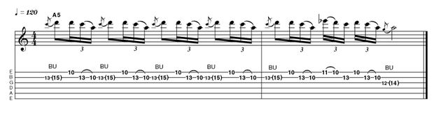 This nifty move between a bent note and rapid pull-off requires both precision and stamina, so be patient when building it up to both the necessary speed and duration.