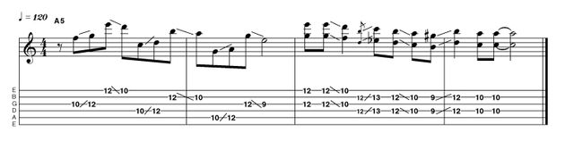 The interval of a 6th is effective within all styles of music, implying a great sense of sophistication, and rock is no exception. This idea switches between articulate intervallic skipped single-notes and harmonically dense double-stops.