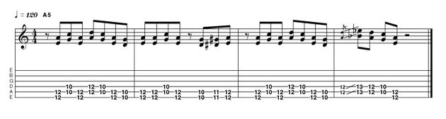 Here's a Blackmore-inspired riff . The pentatonic scale works great when played in double-stops, as this phrase demonstrates. Needless to say, you should get to work with ideas of this nature throughout all of the remaining positions.