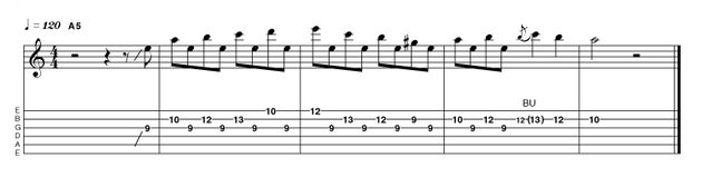 Here we're using the 5th degree (E) as a pivot, ascending through various degrees of A minor scale but always returning to the E 'pedal-tone' after each new note.