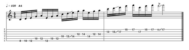 There are two pathways through the minor pentatonic scale that traverse the fingerboard using nothing but tone gaps and slides. This is the first of these pathways, and is a highly effective device to cover ground in a logical and highly musical way.