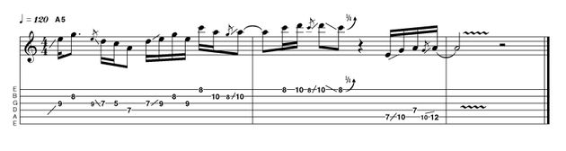 The abundance of tone gaps on the high strings is exploited fully in this slippery example. Ensure that the three-fret slide in bar 2 gets to pitch accurately.