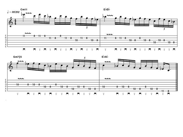 Advanced lick one: Fusion Pentatonic run