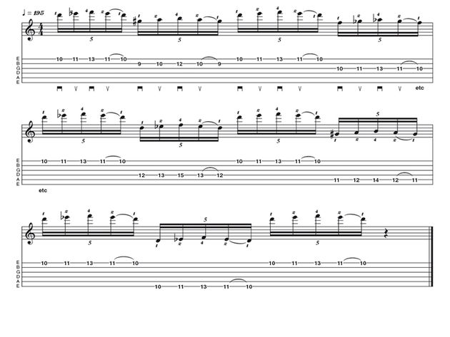 Advanced lick two:  Paul Gilbert-style string skipping