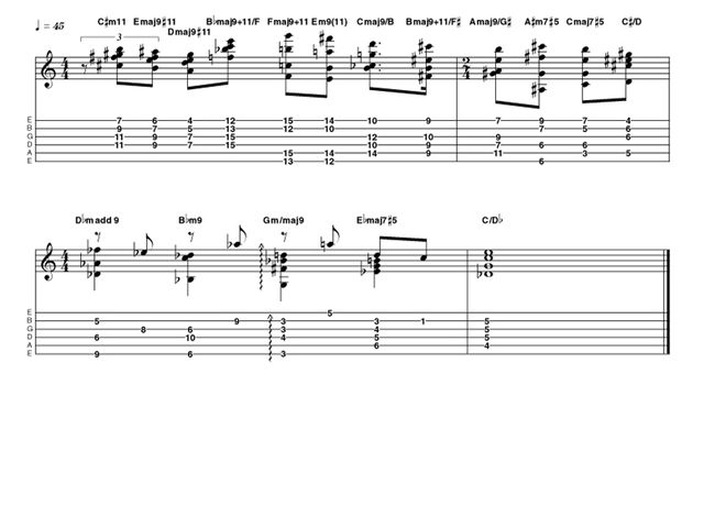 Advanced lick one: Holdsworth-style chording