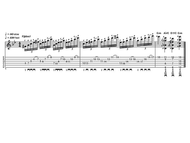 Advanced lick one: neo classical diminished 7th run