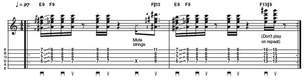 Easy lick two: 16th note funk strumming