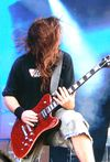 When Lamb Of God surfaced on the Saturday they blew away every other main stage band that preceded them with a savage selection of chops. Mark Morton's using his chambered-body Jackson Dominion signature here. It has coil taps on the pickups but Mark rarely uses them with the band.