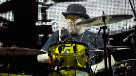 Jason Bonham working on hologram drum solo with his dad