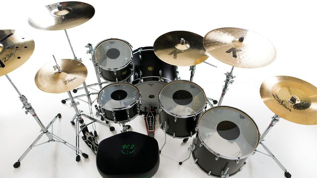 "Drums - Gretsch USA custom kit: 24""x18"" bass drum; 13""x8"" tom; 16""x15"" & 18""x16"" floor tom; 14""x7"" snare drum;  10"" Gretsch steel side snare. Cymbals - Zildjian: 15"" K Light hats; 22"" K Light ride; 21"" K crash ride; 19"" K Hybrid china; 20"" EFX crash. Plus - Zildjian sticks, Remo heads, Gibraltar hardware, Porter & Davies monitor"