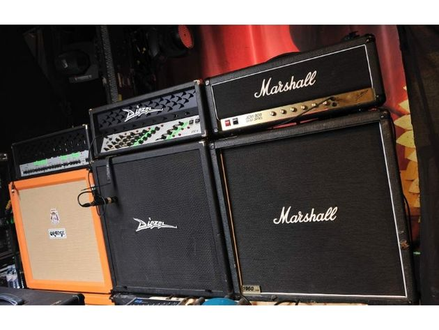 Brent Hinds' Diezel Herbert, Diezel G4 and Marshall JCM800 amps