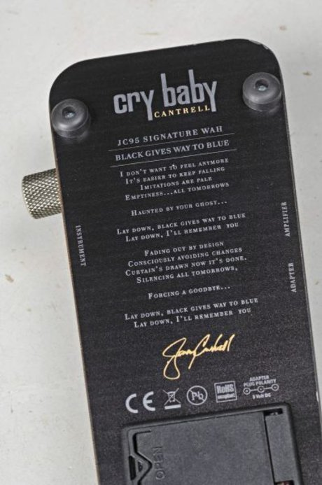 Jerry cantrell jc95 signature crybaby wah pedal bottom