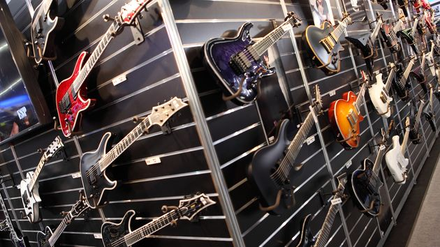 The E-II stand: click through to see the new guitars